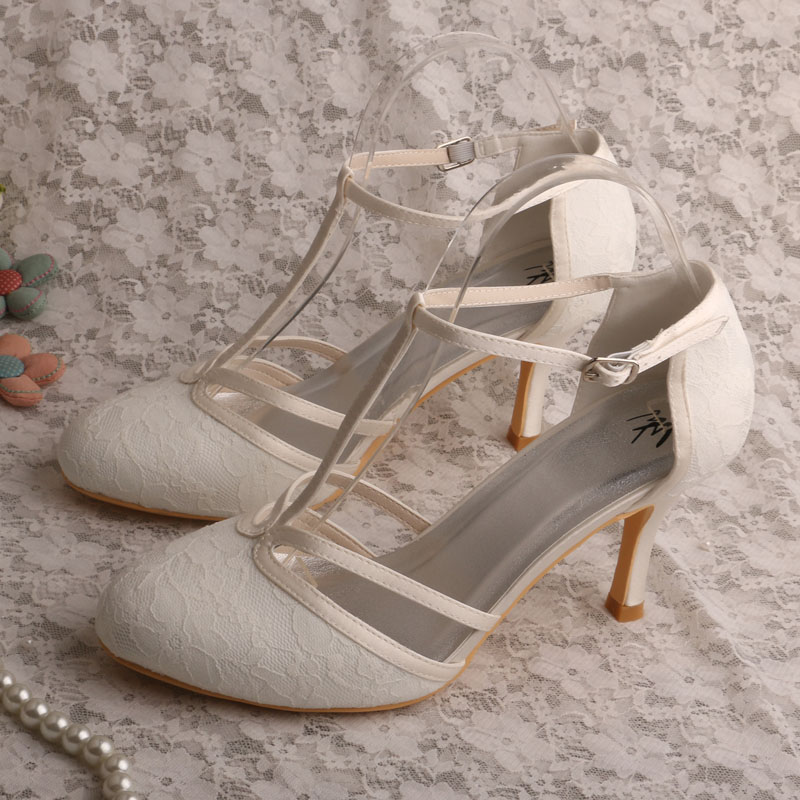 a662de3e5597 Custom Made High Heel T strap Shoes Wedding Ivory Lace Bridal Shoes Summer-in  Women s Pumps from Shoes on Aliexpress.com