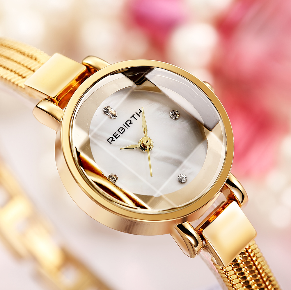 REBIRTH women fashion watch 2018 luxury brand Quartz Watch lady Stainless Steel Womens Watches Relogio Feminino Female Clock swiss fashion brand agelocer dress gold quartz watch women clock female lady leather strap wristwatch relogio feminino luxury