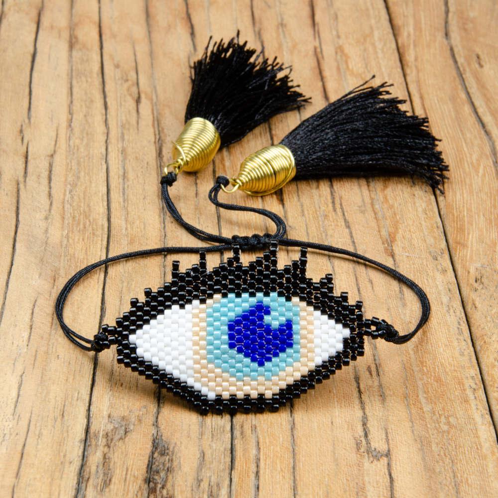 Go2boho Evil Eye Bracelet MIYUKI Bracelets Black Pulseras Mujer 2019 Handmade Women Turkish Eye Jewelry Delicas Beads Party Gift in Wrap Bracelets from Jewelry Accessories