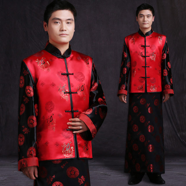 ba5a06b7c6f99 Mens male red Chinese style ancient costume groom dress jacket long gown traditional  Chinese wedding dress