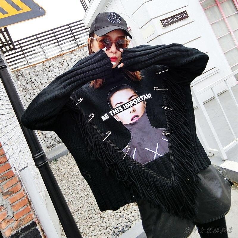 MUMUZI 2018 Nouveau Hiver Femmes Chandails De Mode Col Roulé Noir Pulls Lâche Bordées Chandails Tricotés Femelle Jumper Tops
