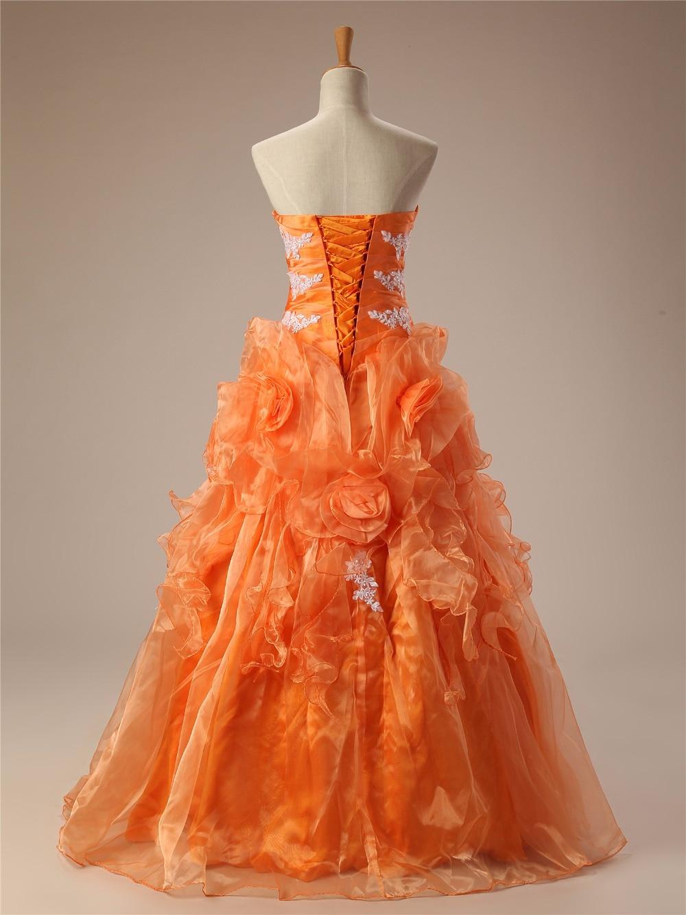 Cheap Quinceanera Dresses Orange Sweetheart Appliques Lace Vestidos De 15 Anos Ball Gown Sweet 16 Dresses Debutante Gown - 2