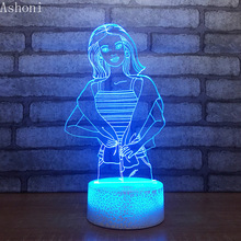 Wonder Woman Shape 3D Lamp Bedroom Table Lamps Night Light Acrylic Panel USB Cable 7 Colors Change Touch Base Lamp Kids Gift недорого