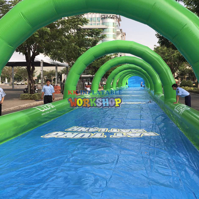 Extra long inflatable water slide Community Garden City Square Water Park