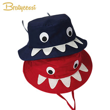 265d8a7f884 Fashion Shark Baby Hat Cartoon Cotton Bucket Hat Baby Girl Cap Navy Red  Adjustable Baby Cap for Boys Kids Hats Accessories 1PC