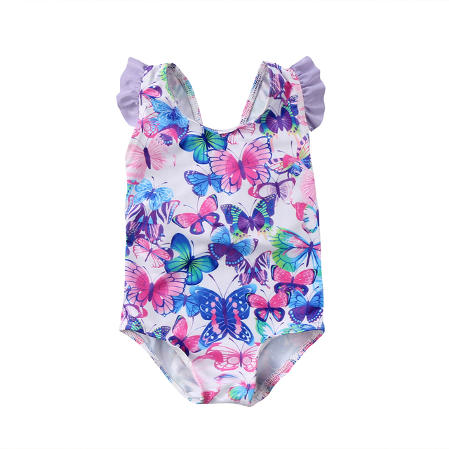 2018 Baby Kids Girls Baby Printed Floral Swimwear Butter Fly
