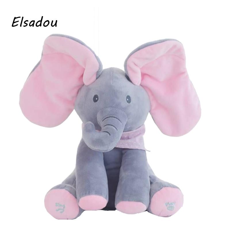 Elsadou Peek a boo Electric Elephant Plush font b Toy b font Animal Stuffed Doll Play