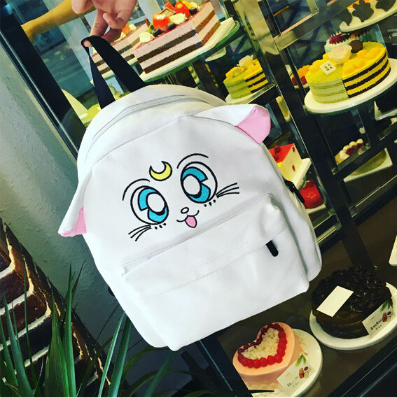 Japanese Cartoon Sailor Moon Preppy Style Embroidery Backpack Lovely Cat Tsukino Usagi Canvas Backpacks For Teenage