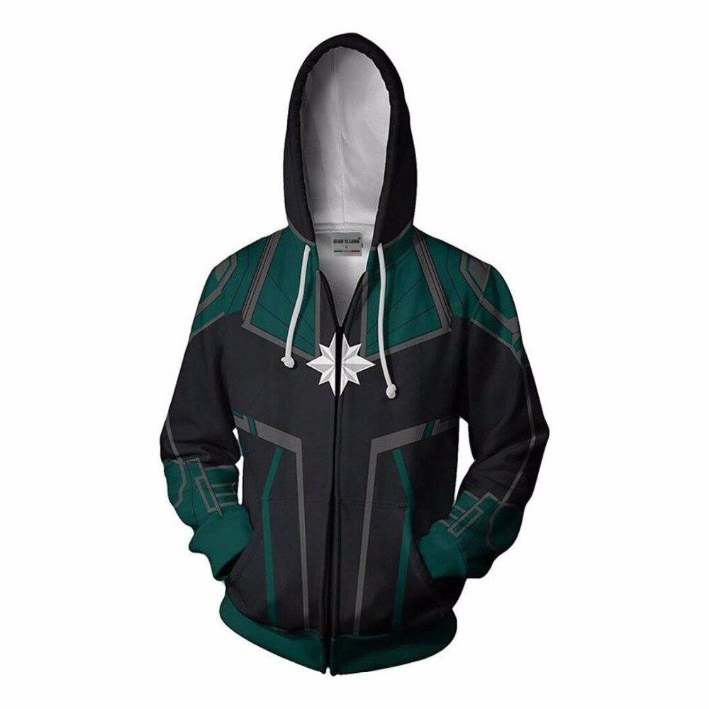 Image 2 - 3D Printed Captain Marvel Carol Danvers Ms Marvel Costumes Hoodies Sweatshirts Tracksuit Casual zipper hooded Jacket clothing-in Hoodies & Sweatshirts from Men's Clothing