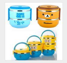 Koreanische Minions Mono, Bilayer Bento Lunch Box Portable Edelstahl Lunchbox Geschirr Einfach Öffnen Lebensmittel-box
