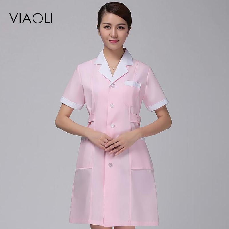 2017 Viaoli Summer short-sleeved nurse suit suit collar doctors white coat beauty salons pharmacy pharmacy pink uniform