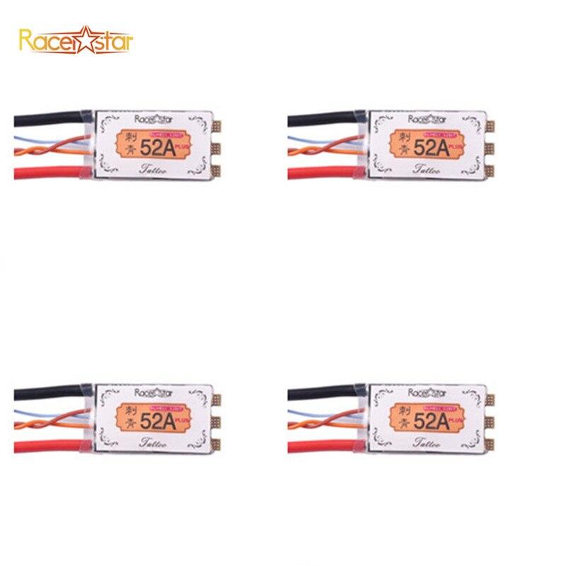 4X Racerstar Tattoo+ 52A BLheli_32 72MHz GD32F150 ESC Dshot1200 Ready Current Sensor LED Telemetry Speed Controller Spare Parts