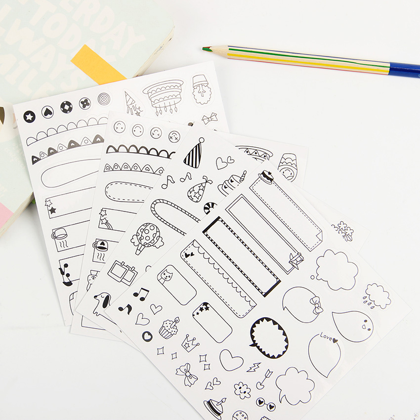6 Sheets/lot Calendar Paper Sticker DIY Scrapbooking Diary Sticker  Kawaii Stationery Sticker For Kids