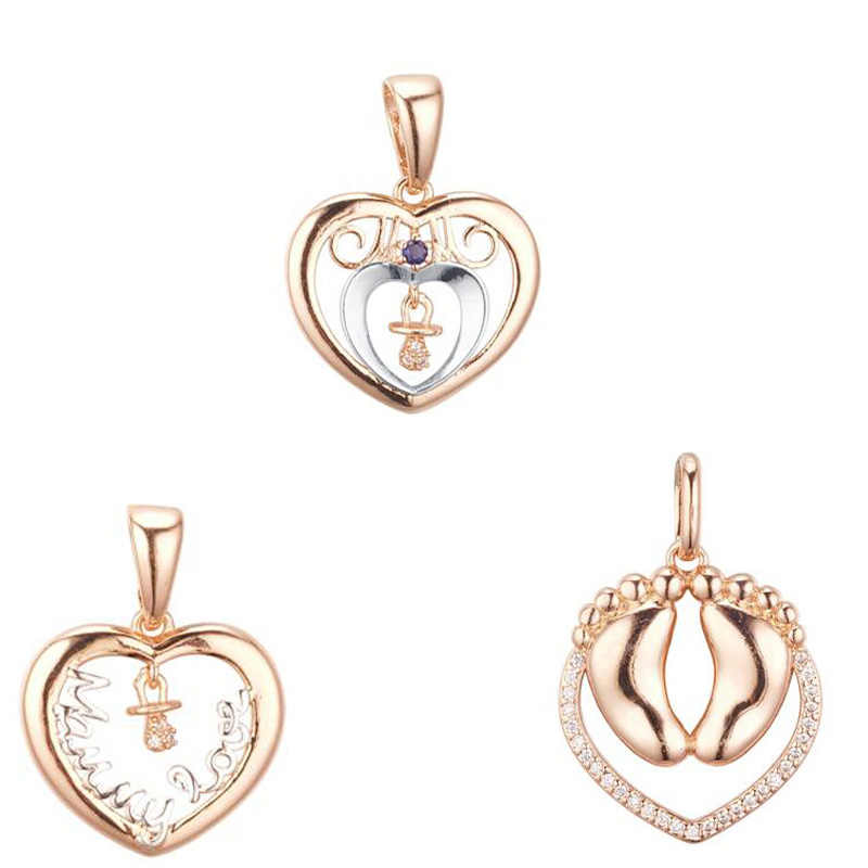 FJ 3 Style Women Girls Cute 585 Rose Gold Color Foot Heart Shaped Pendant Necklaces Cubic Zircon Jewelry