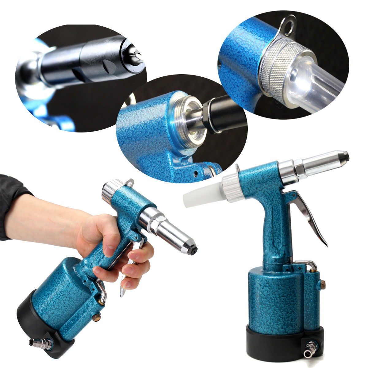 1/4 Pneumatic Air Hydraulic Pop Rivet Gun Riveter Riveting Garage Tool w/Wrench FREE SHIP free shipping high quality taiwan air riveter gun pneumatic riveters pneumatic rivet gun riveting tool 2 4mm 4 8mm