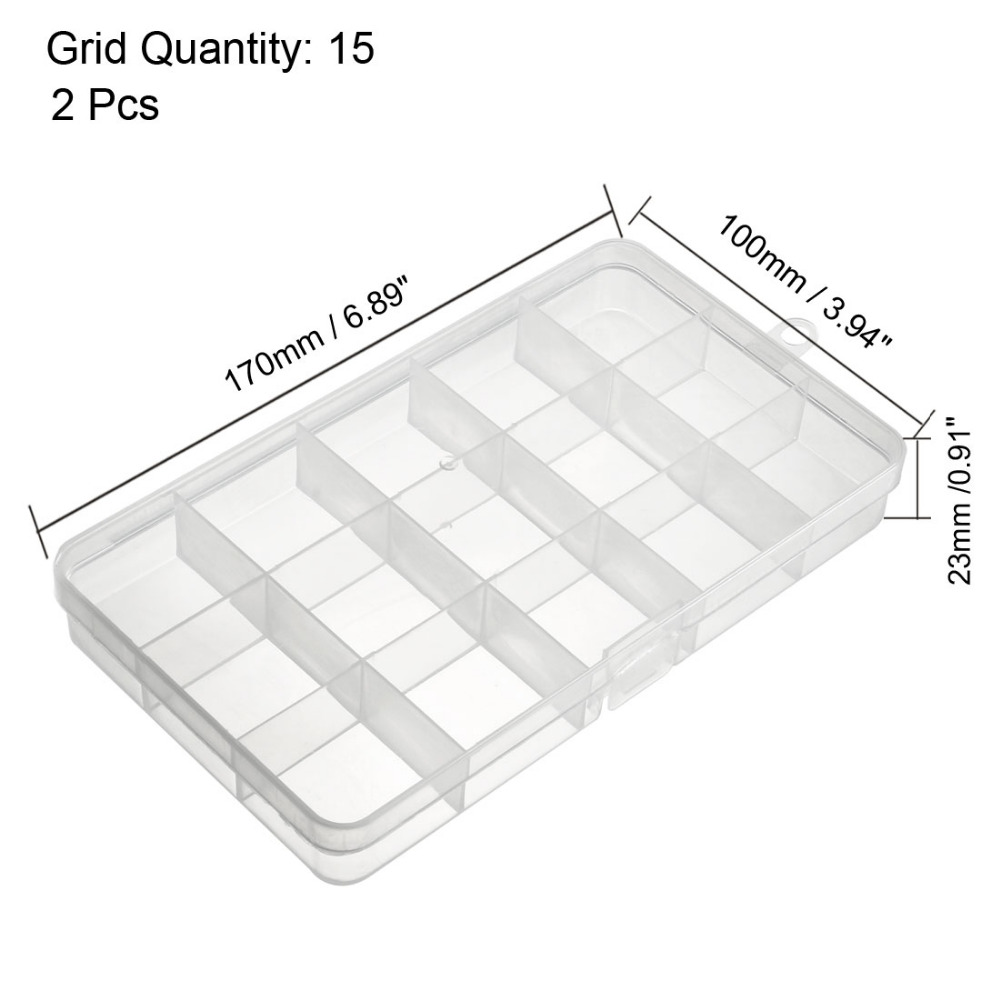 Uxcell 2 Pcs Plastic Fixed 12/15/24/10 Grids Electronic Component Containers Tool Boxes Clear White Component Storage Box