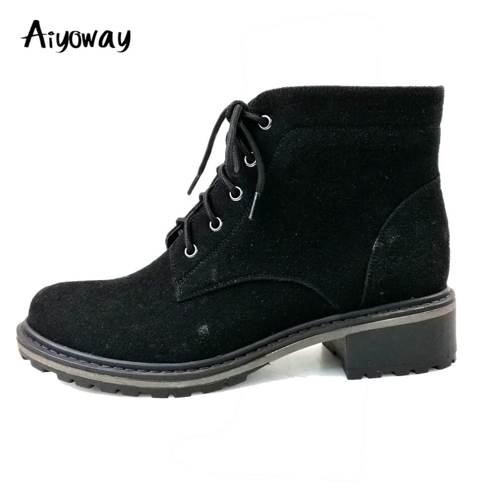 e2a4aec4f87ba Taille ~ Unisexe Bout Talon Femmes 40 Automne Homme Cheville Chaussures  Russie Bottes Mode Rond Hiver Noir Lacets ...