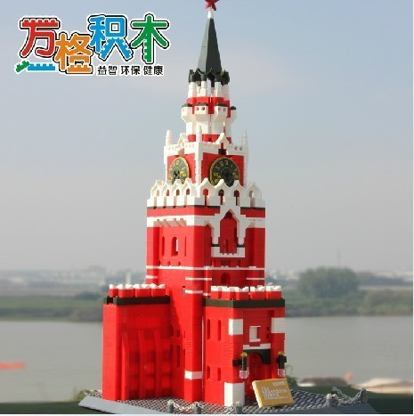 Model building kits compatible with lego city spasskaya tower Moscow kremlin 714 3D blocks Educational toys hobbies for children stavanger 3d three dimensional model of the kremlin building famous assembled building blocks compatible legoe educational toys