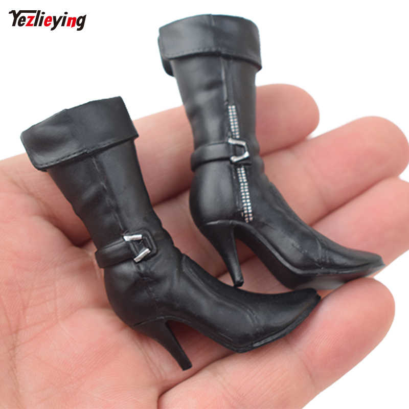 299a731ef98 Black 1/6 Scale ASTOYS AS023 female doll Medium Tube High Heels boots Shoes  W feet fit 12 Inch Removable Body Action Figure Toys