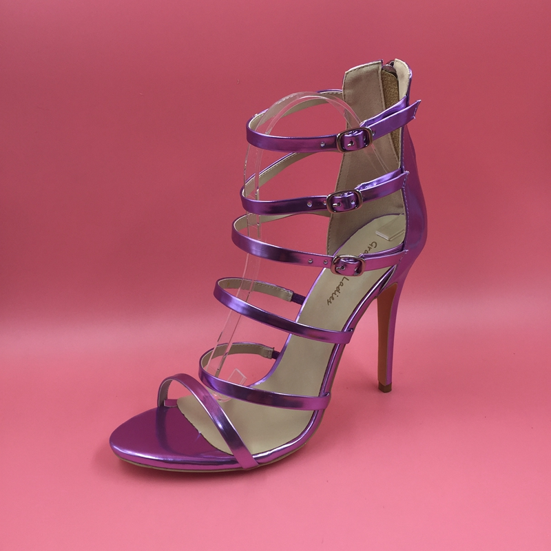 Light Purple Patent Leather Women Sandals High Heel Stilettos Ladies Shoes Ankle Strap Open Toe Gladiator Summer Female Sandal meotina shoes women sandals summer sexy stiletto high heel sandals open toe ankle strap party pumps lady shoes purple size 34 43