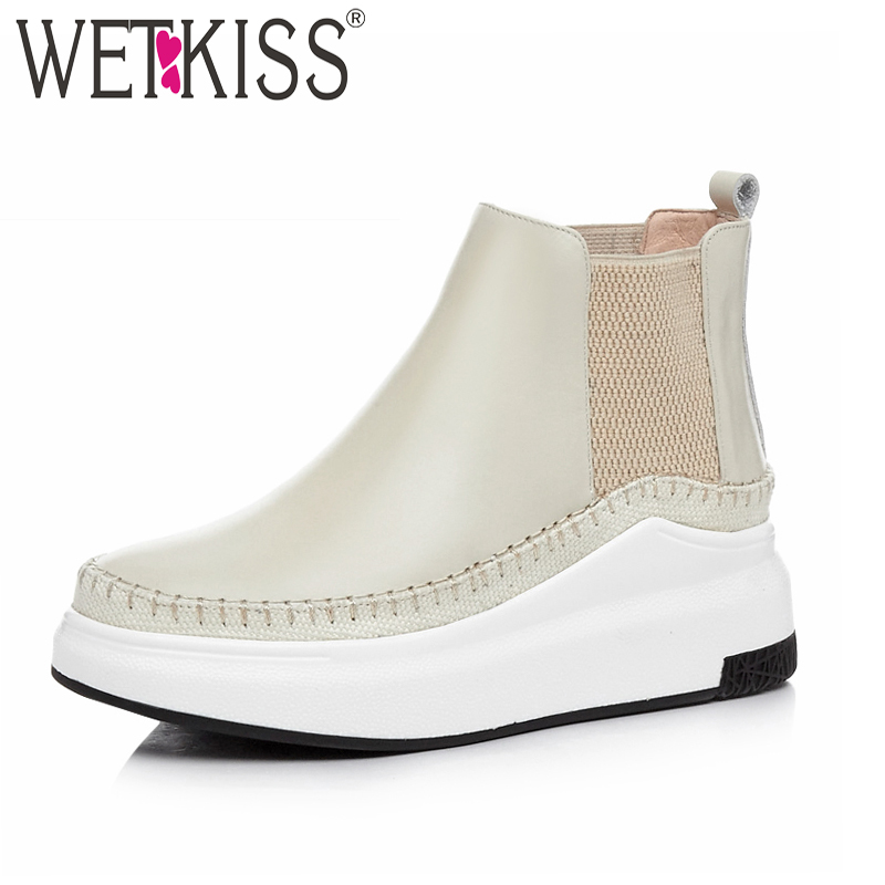 WETKISS Cow Leather Women Ankle Boots Elastic Round Toe Footwear Platform Female Boot Fashion Casual Shoes Woman 2018 Autumn New 2017 new genuine leather elastic band chunky women ankle boot casual round toe anti skid spring autumn flat short boots zy170919