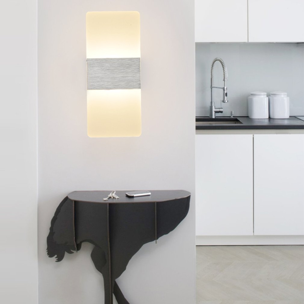 Modern bedside wall lamps - Modern 3w Unique Led Wall Lamp Bedroom Bedside Lamp Rectangle Shape Acrylic Shell Integrated Light Rack