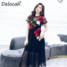 Delocah Women Spring Summer Dress Runway Fashion Designer Short Sleeve Gorgeous Embroidery Dot Printed Black Mesh A-Line Dresses