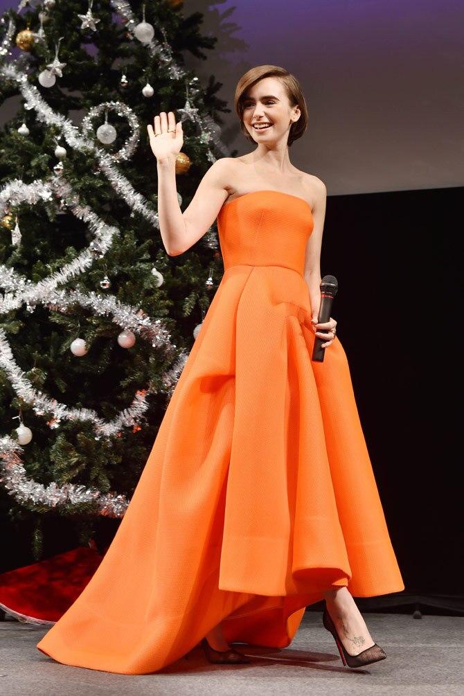 Оранжевый цвет без Бретелек Высокий/низкий стиль Длина до пола с рюшами, вечернее платье для свадебной вечеринки на заказ - Цвет: as picture