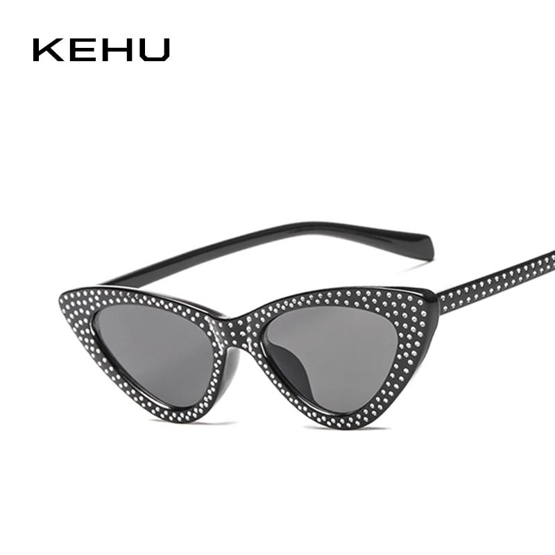 KEHU Ladies Cat Eye Trendy Diamond-Studded Border Design Triangle Frame Design Fashion Sunglasses The Best Choice For Gift K9424