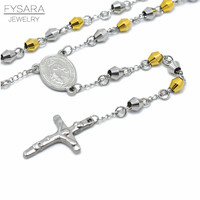 FYSARA Stainless Steel Beads Necklace For Unisex Religious Faith Jewelry Jesus Christ Cross Pendant Rosary