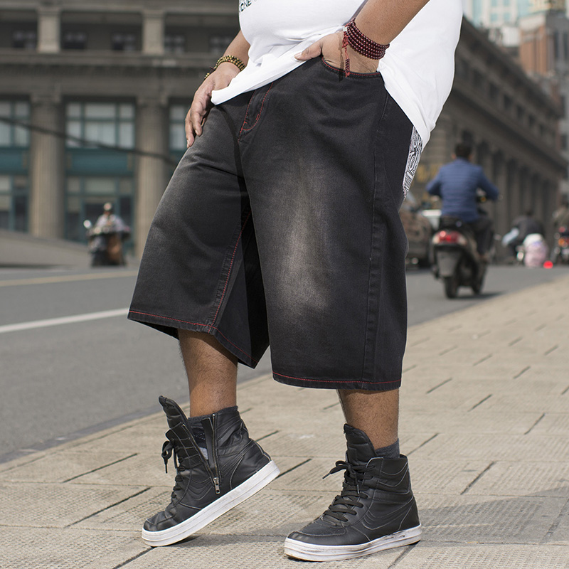 ФОТО Mens Straight Loose Hiphop Streetwear Baggy Jeans Shorts Men Summer Shorts Jeans Bermuda Black Short Pants Plus Size 40 42 44 46