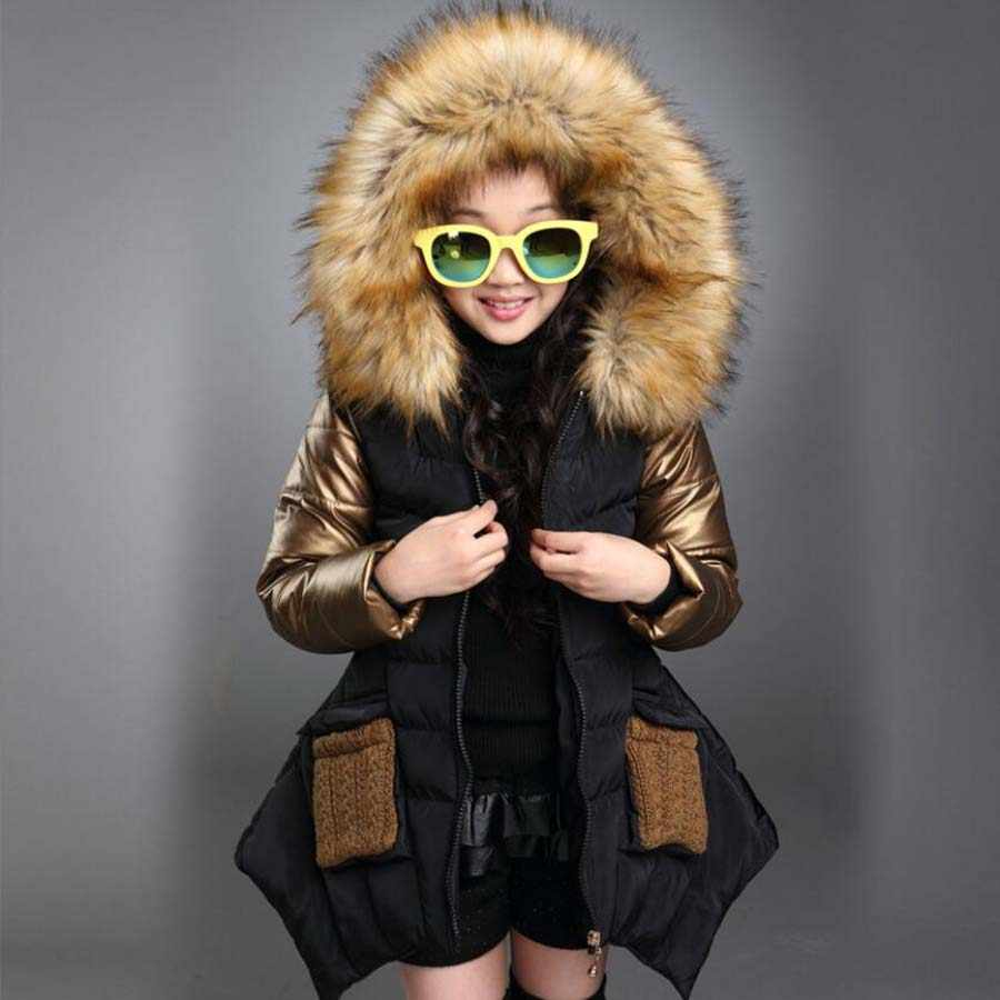 Girls clothes kids winter hooded thickening cotton jacket kids clothes long style coat child warmly jacket girls cute tops 3-13Y