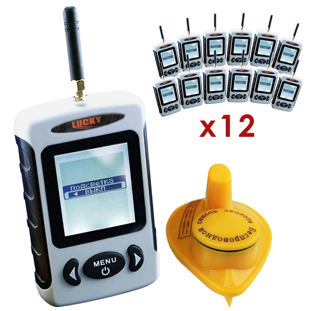 12 pieces x LUCKY Russian Menu FFW-718 Wireless 45 meters Sonar Sensor River Lake Sea Live Update Contour FishFinder lot of 12 menu чаша black contour