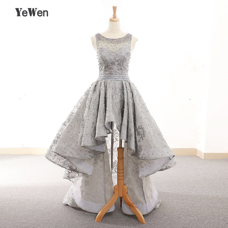 2018 Beads Prom Dresses Short Front Long Back Evening Gown Gray Lace Evening Dresses Party Formal Gown for Graduation