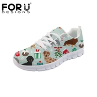 FORUDESIGNS Christmas Gift Girls Sneakers Cute Doxie Dog Printing Women Vulcanize Shoes Breathable Lace Up Casual Flats Shoes