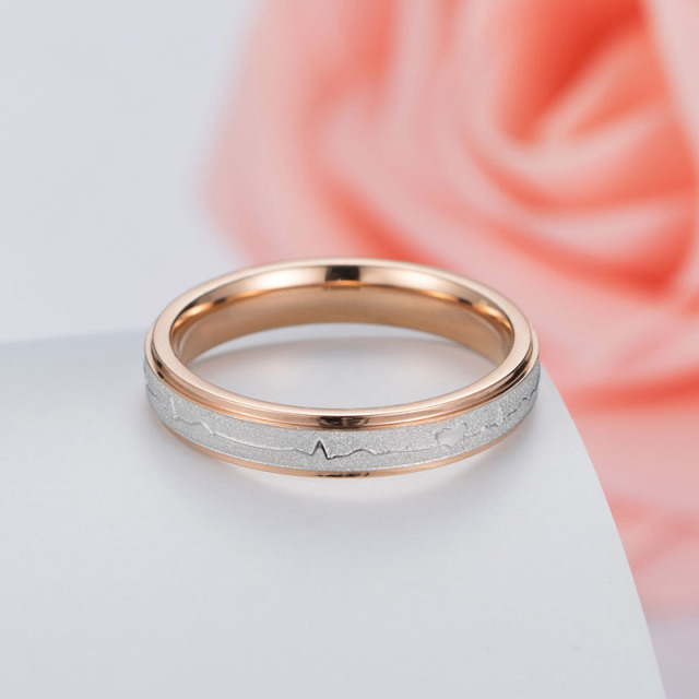 Couple's Romantic Heart Printed Ring