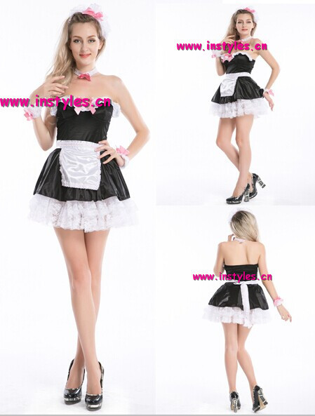 French Maid Servant Costume sexy party fancy dress