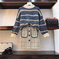 Spring Autumn Jumper +Plaid Skirt 2pcs Sets Knitted Long Sleeved Pullover Sweater + Mini Skirt two piece Sets Plus Size 3XL Z110