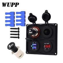 WUPP Car Charger Dual USB Vehicle DC 12-24V Cigarette Lighter Set Socket Splitter 12V Digital Voltmeter Accessories