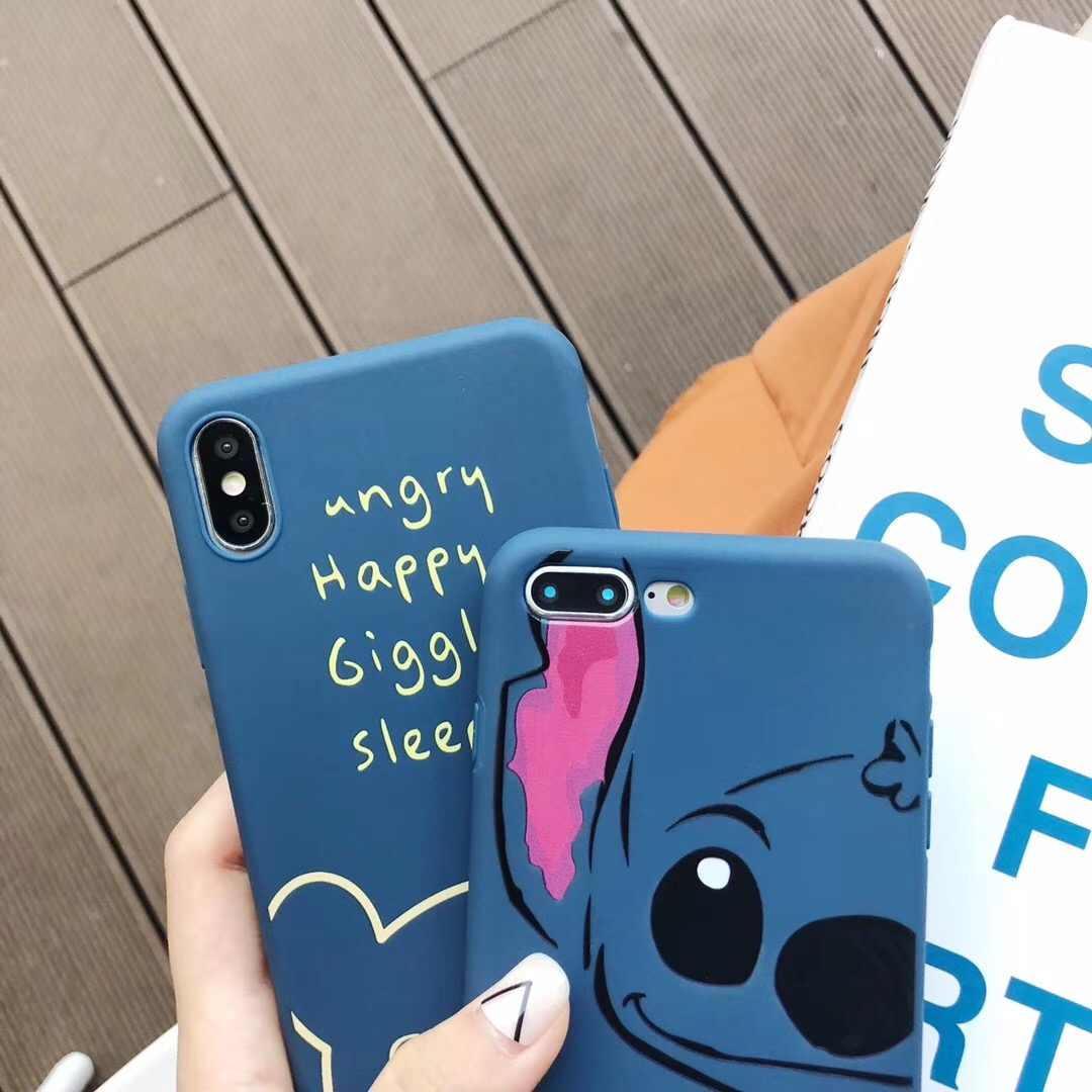 Cute cartoon anime simple funny stitch pooh bear cases soft tpu cover case for iphone 8
