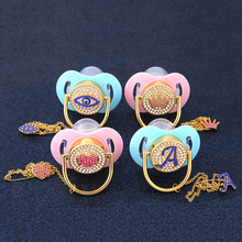Glam Crystal Pink Heart Bling Pacifier Silk Shimmer Clip Set Eye Letter A Crown Luxury Dummy Soother Chain