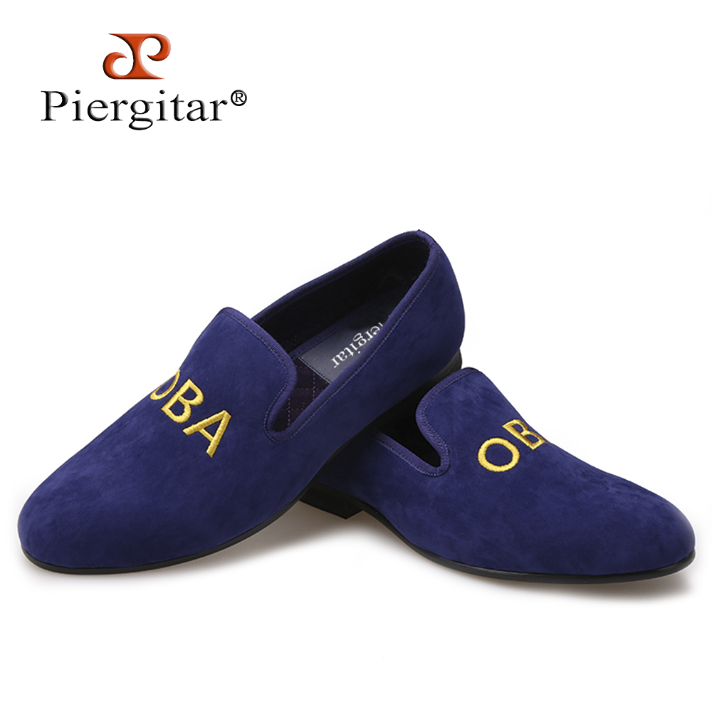 PIERGITAR new customize embroidery men party loafers Fashion prom and Banquet men dress shoes British style smoking slippers handcraft men velvet shoes with bird embroidery british style smoking slippers fashion party and wedding men dress loafers
