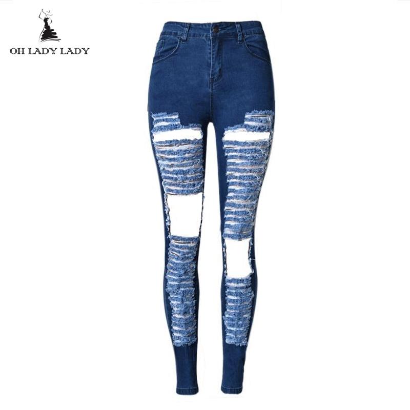 7d96b29753 Rock Jeans Mujer Jeans La Sexy azul pantalones Skinny apenado Pantalones  mujer talle 2016 Boyfriend de en vaqueros moda delgados ...