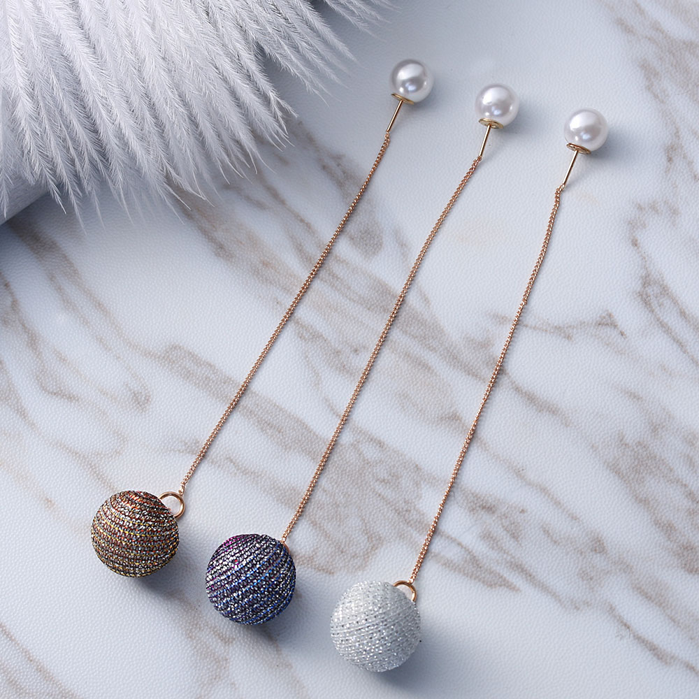 Pearl Ball Pendant Long Drop Earrings