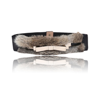 New Lady S Luxury Real Rabbit Fur Belts 6cm Wide Brand Design Belts For Women Gold