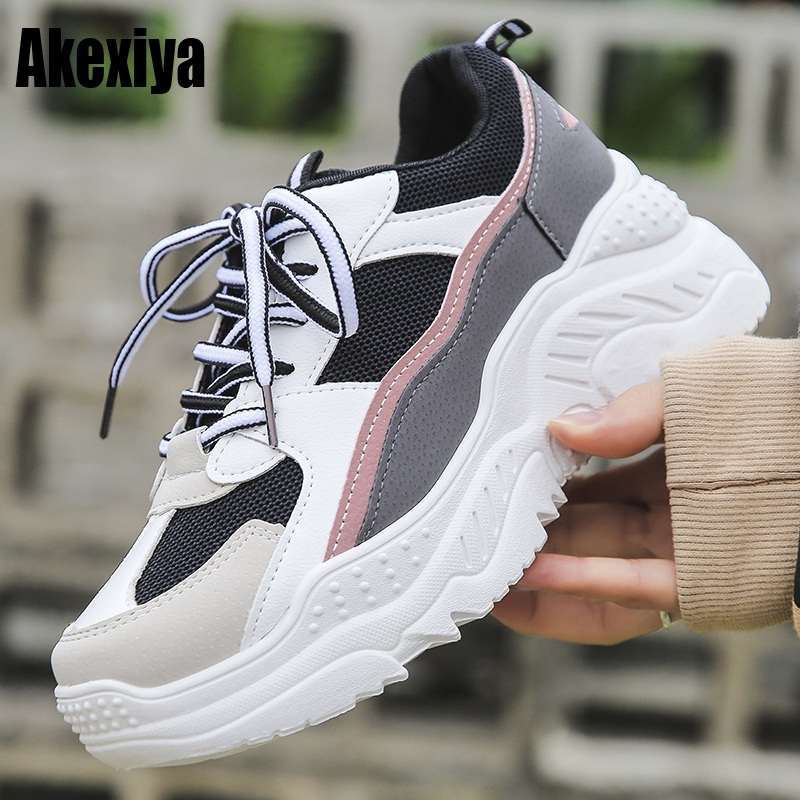 2019 Spring New Leather Women's Platform Chunky Sneakers Fashion Women Flat Thick Sole Shoes Woman Dad Footwear F990