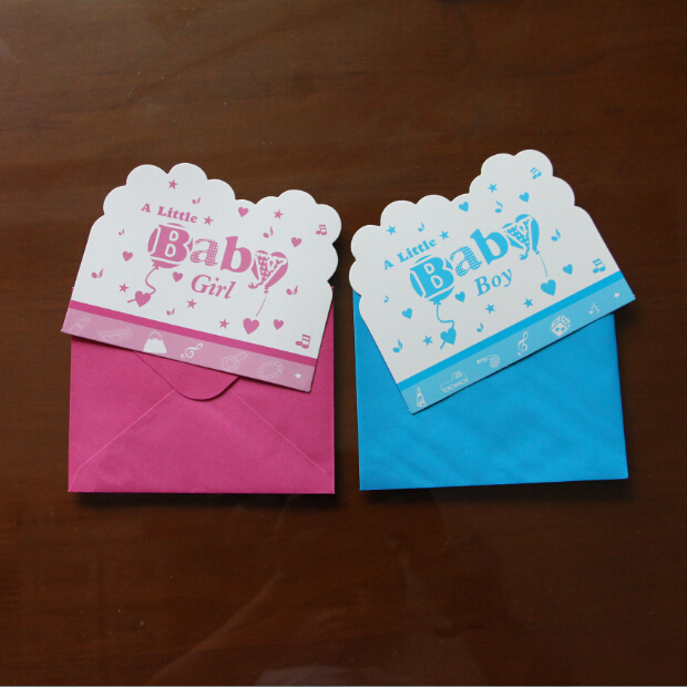 6pcs cards and 6pcs envelopes little baby design invitation card for