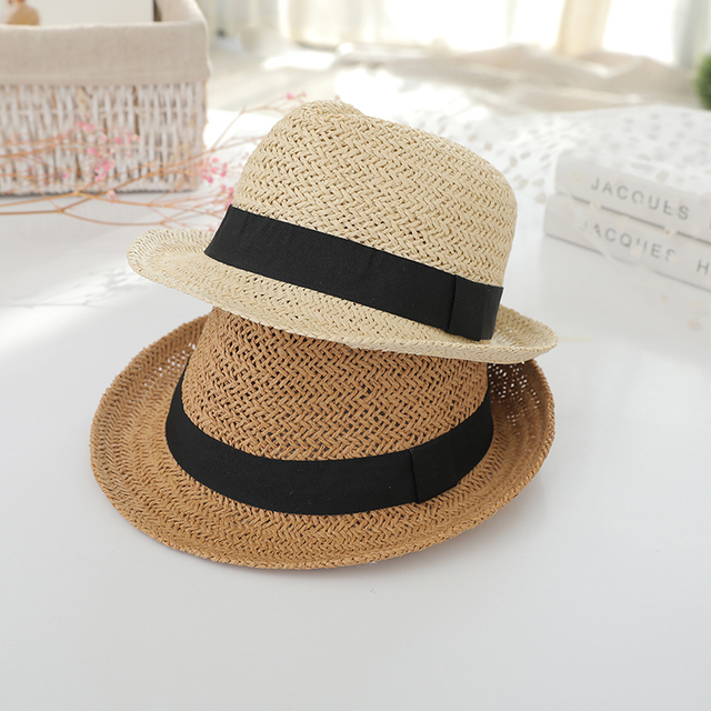 Spring and summer straw hat Children s Hats British vintage jazz child-side  dome bowler hat boys and girls baby cap 9a9be85f4e4
