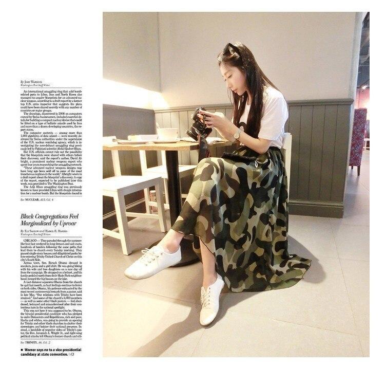 09730fd2b9eac3 € 10.81 |Militaire longues jupe 2015 été femmes mode taille haute , Plus la  taille Camouflage Maxi en mousseline de soie Lady Vintage Beach jupes ...