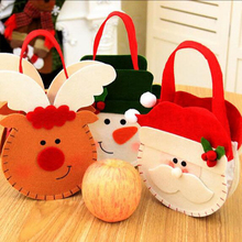 Smiry 1pc Cartoon Santa Claus Creative Festival Party Christmas Cloth Bags Crafts Children Snowman Candy Holder Storage Bags
